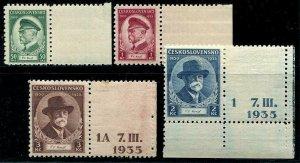 HERRICKSTAMP CZECHOSLOVAKIA Sc.# 202-05 1935 Right Tabs Per Scott