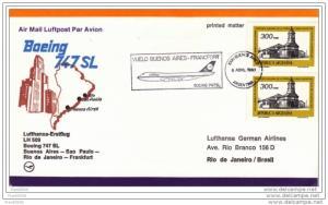 Argentina - Brazil 1980, Lufthansa First Flight, Buenos Aires to Rio de Janeiro