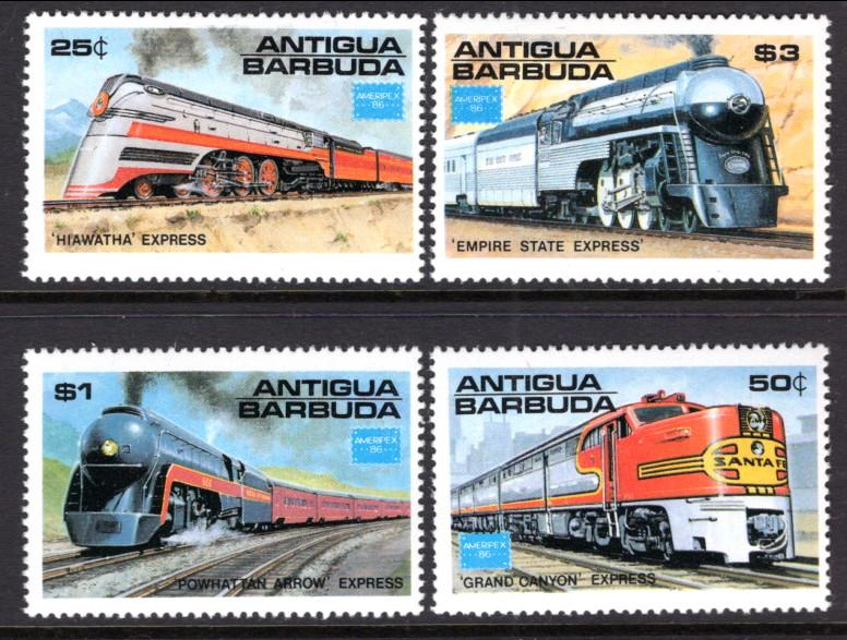 Antigua & Barbuda MNH 934-7 Trains AMPERIX 1986 SCV 8.00