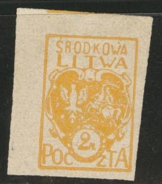 CENTRAL LITHUANIA  Scott 6 Imperf MNG 1921