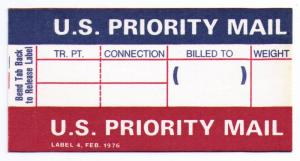 UNITED STATES PRIORITY MAIL LABEL / STICKER MINT (ISSUED FEB 1976) (AM20)