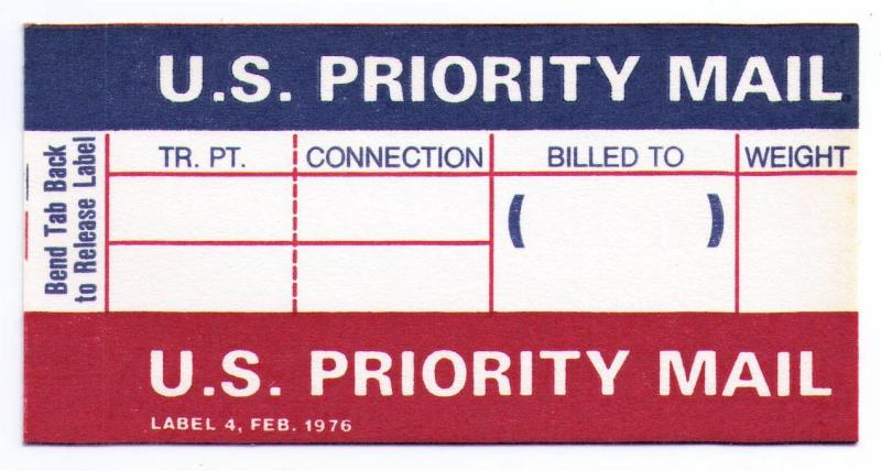 UNITED STATES PRIORITY MAIL LABEL / STICKER MINT (ISSUED FEB