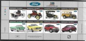 1996    MARSHALL ISLANDS  -  SG.  713 / 720 - SHEETLET  - FORD MOTORS -  MNH