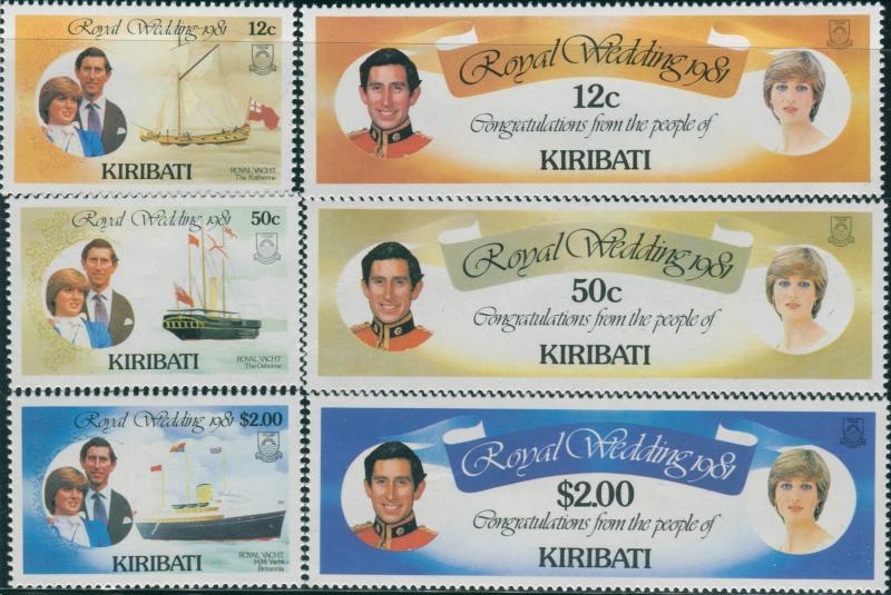 Kiribati 1981 SG149-154 Royal Wedding set MNH