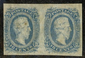 US #CONFEDERATE US #11 VF/XF mint never hinged PAIR,  four nice margins, usua...