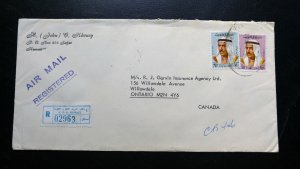 KUWAIT 1976 REGISTERED COVER TO CANADA RECEIVING CANCEL ON BACK