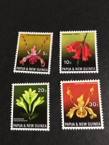 Papua 2015 Scott #287-90 Cpl. Mint VF-NH Cat. $3.60 1969 Orchids