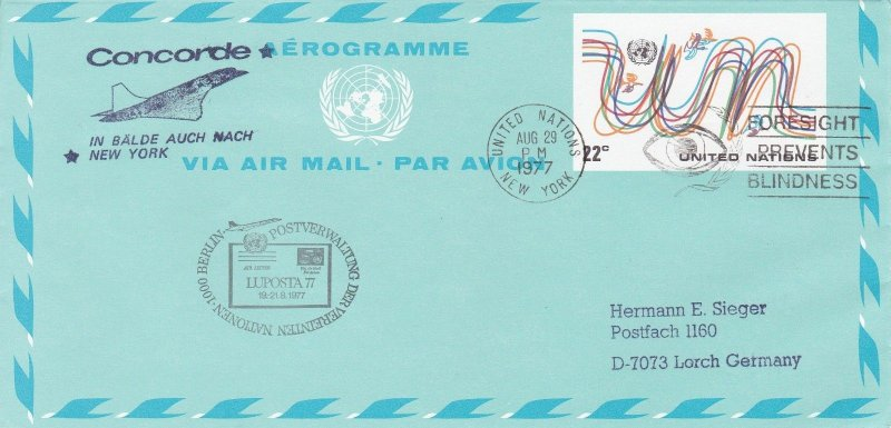 CC40) 1977 Aerogramme In The Near Future Also To New York CONCORDE