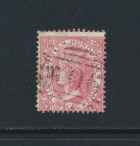 BRITISH HONDURAS 1865. 6d ROSE, VF USED SG#3 CAT£170 $220 (SEE BELOW)