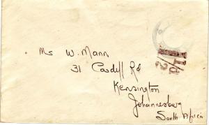 Tristan Da Cunha Tristan Da Chuna c1940 Cachet Type VII with hs 1 1/2d to Joh...