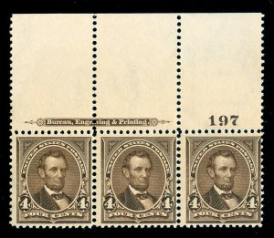 MOMEN: US STAMPS #269 MINT OG NH PLATE IMPRINT STRIP POST OFFICE FRESH