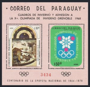 Paraguay 1088 ab sheet,MNH.Michel Bl.111. Olympics Grenoble-1968.Art,by Limbourg