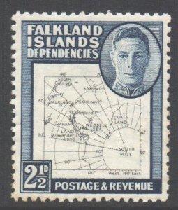 Falkland Islands Deps Scott 1L13 - SG G11b, 1946 Map 2.1/2d Thin Drawn MH*