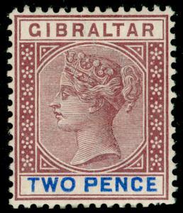 GIBRALTAR SG41, 2d brown-purple & ultramarine, M MINT. Cat £27.