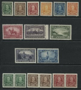 Canada 1935 set to $1 and the 3 Coil Pairs unmounted mint NH