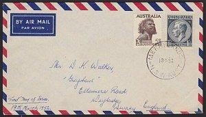 AUSTRALIA 1952 2/6d & 1/0½d on FDC - Merrylands cds.........................3719