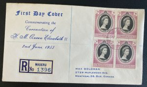 1953 Maseru Basutoland First Day Cover Queen Elizabeth 2 coronation Stamp Block