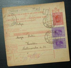 Yugoslavia 1928 Parcel Card from Prijedor Bosnia to Varazdin Croatia A14