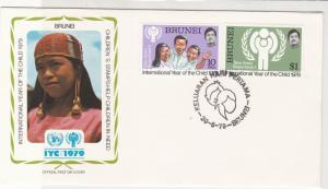 Brunei 1979 Int.Year of the Child Boy & Girl Cancel FDC Stamps Cover Ref 29083