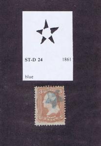 SCOTT# 65 USED 3c WASHINGTON, 1861, BLUE 5 POINT STAR FANCY CANCEL