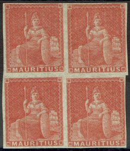 MAURITIUS 1858 BRITANNIA (6D) MNH ** BLOCK