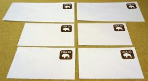 U608, 22c U.S. Postage Envelopes qty 6