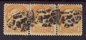 Canada-Sc#35-used 1c strip of 3 small queens-unusual cancel -