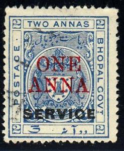 Bhopal #o27 Official Stamp. Service Ovpt. and Surcharge in Red, 1935. HM