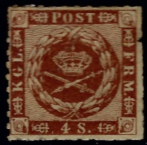Denmark SC#9 Mint F-VF spot in selvage SCV$100.00...Highly collectible!