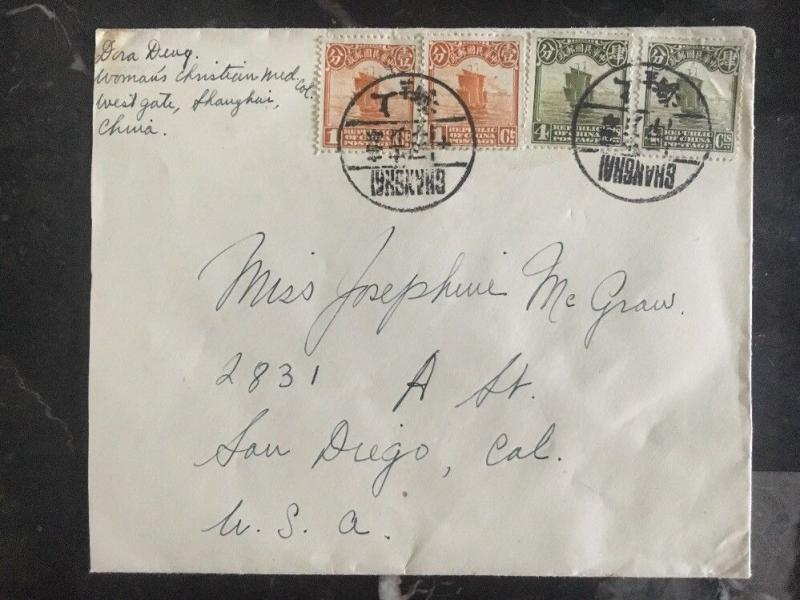1920s Ghanghai China Missionary Christian Order Cover To San Diego Ca Usa