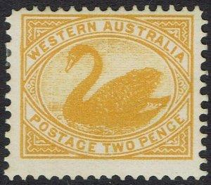 WESTERN AUSTRALIA 1902 SWAN 2D WMK V/CROWN PERF 12.5