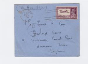 british india  1945 madras to england  airmail stamps cover ref r15368