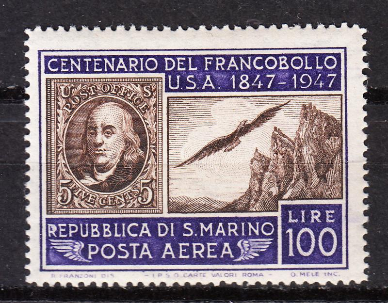 San Marino - 1947 Centenary of US stamps Sc# C55 - MH