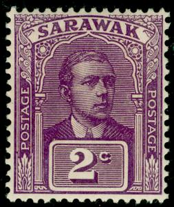 SARAWAK SG63, 2c purple, LH MINT.