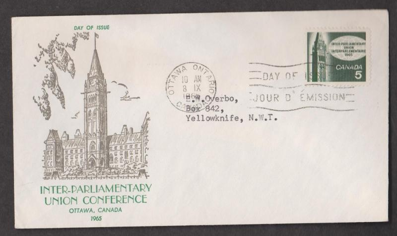 CANADA Scott # 441 On FDC - 1965 Inter-parliamentary Union Conference Issue