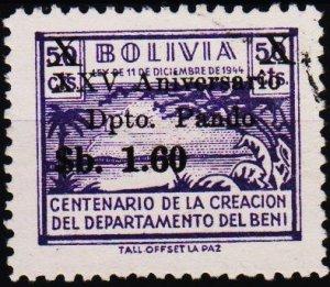 Bolivia. 1966 1p60 on 50c S.G.805 Fine Used
