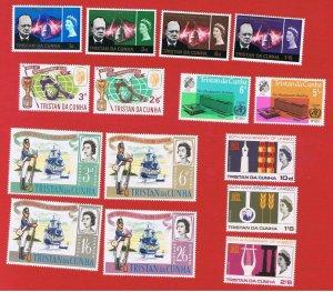 Tristan da Cunha #89-103 MNH OG  5 sets 1966 complete Free S/H
