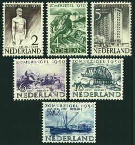 Netherlands B208-B213,hinged.Mi 552-557.Social,cultural works 1950.PTT Monument.