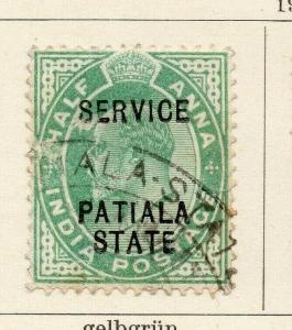 Patiala 1903-09 Early Issue Fine Used 1/2a. Optd 320090