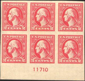 1920 US Stamp #534A A140 2c Mint OG Plate Block of 6 Catalogue Value $450