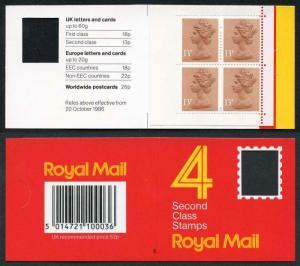 DB16(1)A 1988 52p Type 1A 4x13p CB Code E Plain Window Booklet