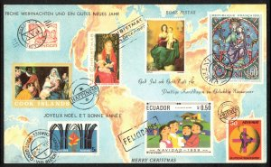PHILATELIC CHRISTMAS CARD WITH POSTAGE STAMPS REPLICAS USED, GERMANY, CINDERELLA