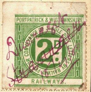 GB Scotland PORTPATRICK WIGTOWNS RAILWAY Stamp 2d Used *Stranraer* RARE WHITE59