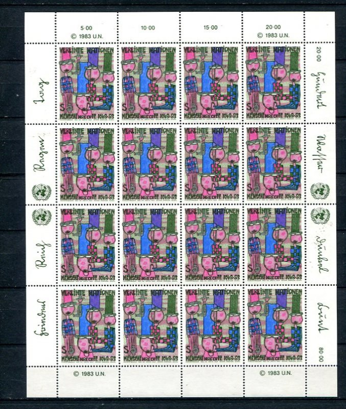 UN 1983 2 sheets Declaration of Human Rights Sc 137-8 Vienna MNH 8756