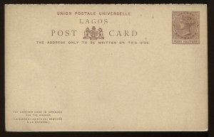 Lagos QV 1887 1 1/2d unused Post Card with reply attached, H & G PC3