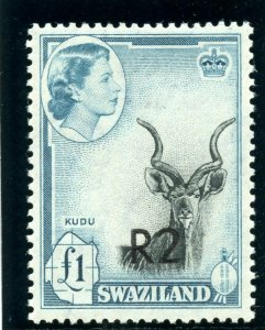 Swaziland 1961 QEII 2r on £1 black & turquoise-blue (Type II) MLH. SG 77b.
