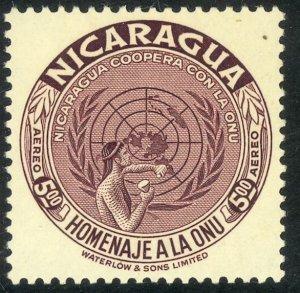 NICARAGUA 1954 5cor UNITED NATIONS Airmail Sc C345 MNH