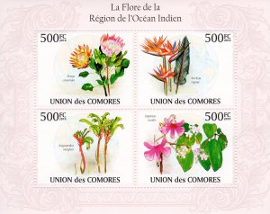 COMORO ISLANDS 2010 YT#1959/1962 FLOWERS OF THE INDIAN OCEAN Sheetlet (4) MNH