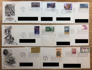 12 FDC - Artcraft / Postal Commemorative Society First Day Covers w/BONUS COVER