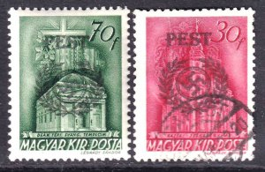 HUNGARY WW2 PEST OVERPRINTS OG H M/M CDS F/VF TO VF SOUND x2 DIFFERENT $$$$$$$